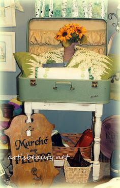 #ARTISBEAUTY.NET  my dumpster diving vintage suitcase  beautiful suitcase table