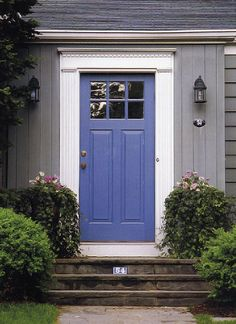 New Ideas For Blue Front Door Colors House Beautiful Purple Front Doors, Purple Door, Front Door Colors, Blue Doors, Exterior Paint Colors For House, Paint Colors For Home, House Paint Color Combination, Front Door Entrance, Entrance Ideas