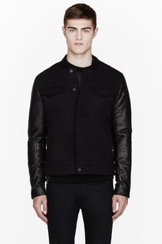 T by Alexander Wang - AW13 - Black leather-sleeved denim jacket - $695