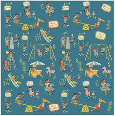 Retro Playground fabric pattern © Clare Phillips 2013 Illustration Mode, Pattern Illustration, Illustrations, Fabric Patterns, Print Patterns, Vintage Wrapping Paper, Children Playground, Playground Design, Vintage Greeting Cards