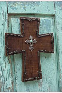 Rustic wood cross- upstairs