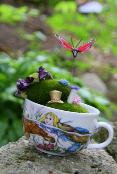 Wonderland Centerpiece  Mossy Fairy Garden by SurroundingsOnline, $18.95