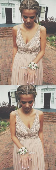 Sparkly Prom Dress, New Arrival V-neck Prom Dress, Long Chiffon Prom Dress, Floor Length Beading Prom Dress, Charming Evening Dress These 2020 prom dresses include everything from sophisticated long prom gowns to short party dresses for prom. Blush Prom Dress, Prom Dresses Long Pink, Pink Evening Dress, V Neck Prom Dresses, Dresses Short, Long Prom Gowns, A Line Prom Dresses, Prom Party Dresses, Homecoming Dresses