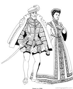 coloring page Clothing of the Renaissance Kids-n-Fun | Embroidery ...