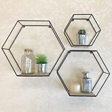 Set of 3 Metal Wire Hexagon Shelves Wood Industrial Style Black Wall Storage for sale Black Metal Shelf, Black Shelves, Metal Shelves, Wire Shelving, Wall Shelves, Geometric Shelves, Hexagon Shelves, Geometric Wall, Hallway Shoe Storage