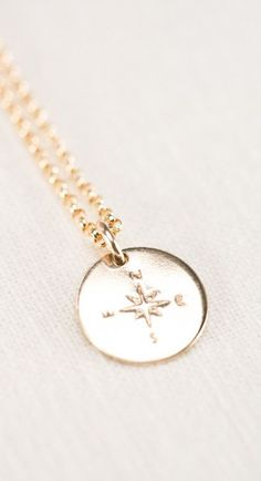 Hokule'a necklace - gold compass necklace