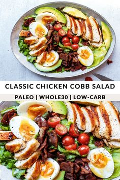 Classic Chicken Cobb Salad (Paleo) Paleo Recipes, Low Carb Recipes, Whole 30 Salads, Creamy Salad Dressing, Large Salad Bowl, Whole 30 Recipes, Lunches And Dinners, Us Foods, Fertility