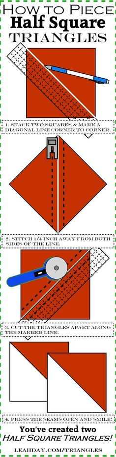 Quilting Basics 3: How to Piece Half Square Triangles