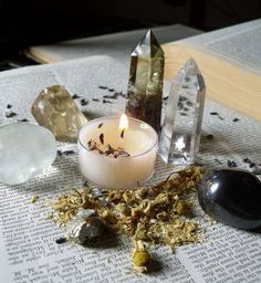 Crystal points and tumbled stones.