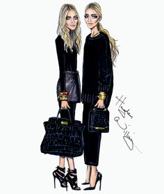 I love this illustration of Mary-Kate + Ashley by Hayden Williams.