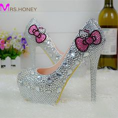 Cheap high heel shoes, Buy Quality wedding shoes directly from China heel shoes Suppliers: Hello Kitty Silver Rhinestone Bridal Wedding Shoes Graudation Party Prom High Heel Shoes Formal Dress Pumps Plus Size 45 High Heels For Prom, Prom Heels, Fancy Shoes, Crazy Shoes, Silver Bridesmaid Shoes, Cheap Dress Shoes, Hello Kitty Wedding, Hello Kitty Shoes, Bridal Wedding Shoes