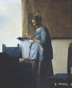 """""""The Woman in Blue Reading a Letter,"""" (1663-1664). Johannes Vermeer (1632-1675). Rijksmuseum, Amsterdam."""