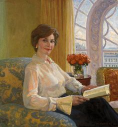Laura Bush Quotes: Picture of Laura Bush, from the National Portrait Gallery, by Aleksander Titovets First Lady Of America, Us First Lady, People Reading, Woman Reading, American Presidents, American History, Presidents Usa, Official Presidential Portraits, First Lady Portraits