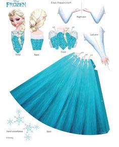 image trouvée sur le net à imprimer pour fabriquer une princesse Elsa en papier