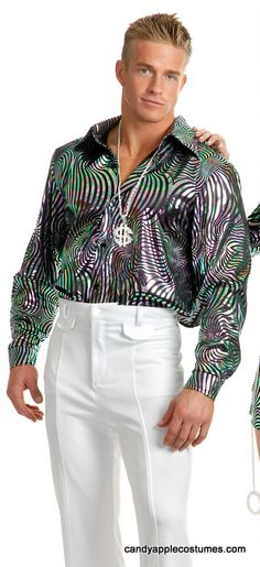 Adult Silver Swirl Disco Shirt - Candy Apple Costumes - Pimp & Ho
