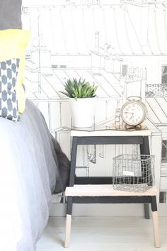 Love this IKEA BEKVAM step stool hack to use the piece of furniture as bedside decor.