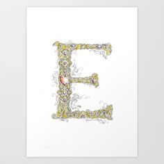 Trying new things  Personalized lettering E Art Print by Silver Apple Designs  - $15.60 Letter E Art, Silver Apples, 4 Kids, My Works, Initials, Symbols, Craft Ideas, Lettering, Art Prints