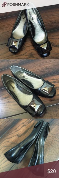 White Mountain low wedge heel flat shoes White Mountain black low wedge heel leather flat with square metal buckle and square toe. Used only a couple of times. Plastic size tag still attached at sole. No scratch on leather. White Mountain Shoes Flats & Loafers