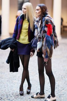 patchwork fur and stockings with pops of color. #streetstyle #fashion