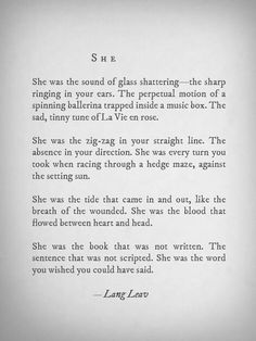 She was me. She complicated your life. You let her go. The unwritten book all spelled out. The End.