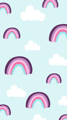 Free Phone wallpaper, rainbow and cloud pattern by Nutmeg and Arlo.