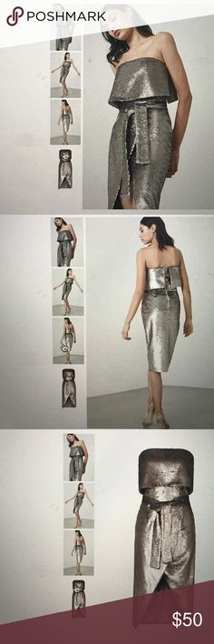 LAVISH ALICE Silver Reverse Sequin Bandeau Cropped Tie Front Midi Dress LAVISH ALICE Dresses Midi