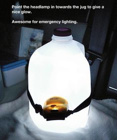 Little light + Jug of Water = Lotsa Light!!!  Make a Lamp Out of a Water Jug and a Headlamp | 31 Insanely Easy And Clever DIY Projects