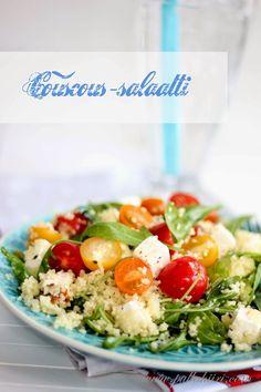 Pullahiiren leivontanurkka: Värikäs juhlapöydän couscous-salaatti Couscous, Cobb Salad, Salad Recipes, Potato Salad, Potatoes, Ethnic Recipes, Buffets, Food, Drinks