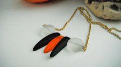 Orange Black White Necklace GoldChain Necklace by mscenna on Etsy
