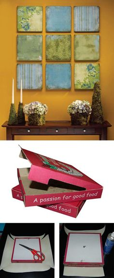 Si te gusta la pizza, y tienes algo de artista en tu interior, te proponemos esta sencilla forma de reciclar cajas de pizza para hacer todo tipo de composiciones decorativas. Una manera sencilla y baratísima de decorar nuestras paredes. Materiales: cajas de pizza (tamaño a elegir), papel para envo…