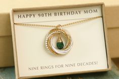 90th birthday gift for mother necklace by ILoveHoneyWillow on Etsy                                                                                                                                                      More
