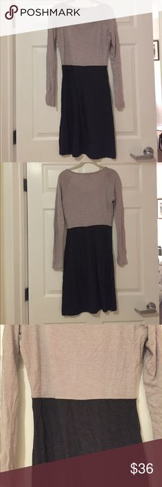 James Perse Dress Super soft long sleeve dress with scoop neck. Two tone color block is subtle enough for work in the fall or winter, looks nice with black tights! In great condition. James Perse Dresses Long Sleeve
