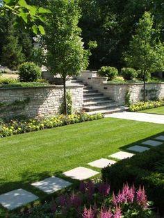 I like the walkway and rock retaining wall - Gartengestaltung Terraced Landscaping, Terraced Backyard, Landscaping Retaining Walls, Sloped Backyard, Sloped Garden, Landscaping With Rocks, Front Yard Landscaping, Backyard Landscaping, Landscaping Ideas