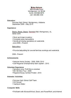 Resume Examples High School