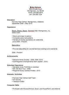 resumeexamplesforhighschoolstudents in