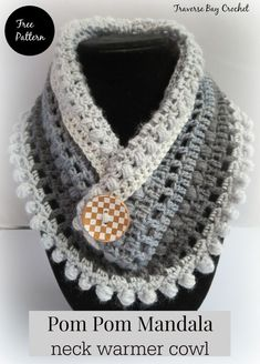 Pom Pom crochet Mandala cake neck warmer