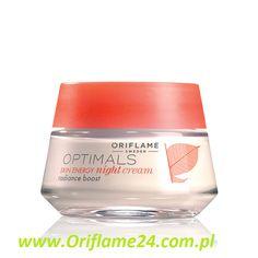 Optimals Skin Energy Night Cream - Krem na noc Optimals Skin Energy Oriflame. Odżywczy krem na noc zapewnia zmęczonej skórze dawkę nowej energii dzięki formule z opatentowaną technologią antyoksydacyjną Lingon 50:50™ i witaminą C, która zapobiega wysuszaniu się skóry i wzmacnia jej naturalny blask. 50 ml