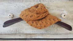 100% Baby Alpaca Hand Knitted Burnt Orange Infinity Scarf