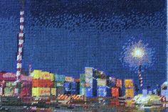Night Docks Blue Needlepoint by Jessie Deane