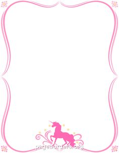 Printable unicorn border. Use the border in Microsoft Word or other programs for creating flyers, invitations, and other printables. Free GIF, JPG, PDF, and PNG downloads at http://pageborders.org/download/unicorn-border/