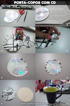Como reutilizar CDs antigos para transformá-los em porta-copos.