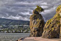Vancouver Canada, Siwash Rock, along the seawall.