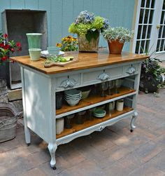 New kitchen storage island old dressers ideas Refurbished Furniture, Repurposed Furniture, Furniture Makeover, Painted Furniture, Dresser Repurposed, Metal Furniture, Tv Tray Makeover, Kitchen Ikea, New Kitchen