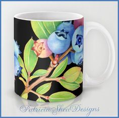 Maine Blueberries coffee tea mug kitchen decor watercolour illustration design by Maine artist Patricia Shea. From Etsy seller PatriciaSheaDesigns. #blueberries, #etsycoffeemug. Discover all things blueberry at Blueberry-Buzz.com.