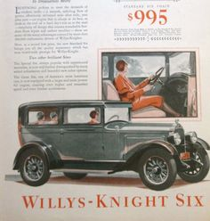 =-=1928 Willys-Knight Six Automobile Illustrated Green Car Woman Driving Vintage 1920's Print Ad
