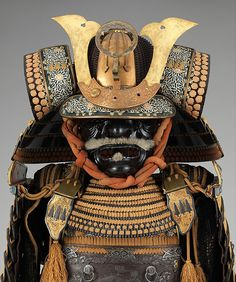 Armor (Gusoku). Date: late 18th–19th century. Iron, lacquer, gold, silver, copper alloy, leather, silk.asmounted: H. 54 1/2 in. (138.4 cm); W. 22 1/2 in. (57.2 cm); D. 20 1/2 in. (52.1 cm). -The Metropolitan Museum-