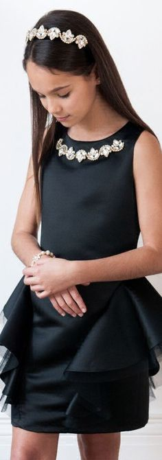 SALE !! DAVID CHARLES Girls Jet Black Satin Party Dress. Pretty & Sophisticated Girls Dress. Perfect for a Teen or Tween who Wants to Dress Like a Royal Princess! Gorgeous Little Black Silk Dress with Brilliant Crystals. Now on Sale! #kidsfashion #kids #black #dress #diamond #sparkle #sale