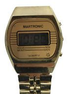 Vintage MARTRONIC Mens WATCH Two Tone Stainless Stretch Band Digital Quartz