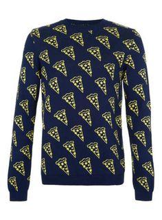 Navy Pizza Slice Sweater