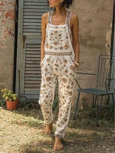 Casual Sleeveless Floral Pants – chiclinen jumpsuit outfit jumpsuits casual jumpsuits for women jumpsuits and romper summer romper cute rompers Jumpsuit Casual, Jumpsuit Outfit, Floral Jumpsuit, Floral Pants, Floral Sleeve, Elegant Jumpsuit, White Jumpsuit, Denim Jumpsuit, Dungarees